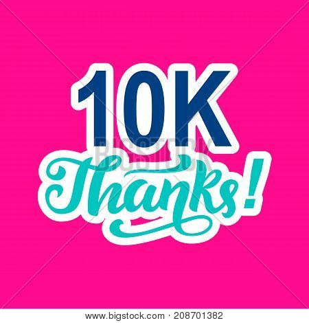 10000 followers thanks. Congratulations card template, network banner. Social media. Vector illustration