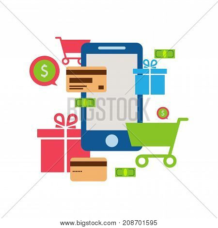 Mobile online store smartphone cart : concept of mobile phone order purchase internet shop showcase ecommerce