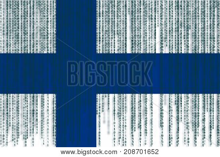 Data Protection Finland Flag. Finland Flag With Binary Code.