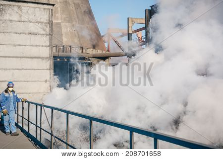 Production Of Coke. Coke Is Extinguished Water. Steel Works. Nlmk. Altai Coke.