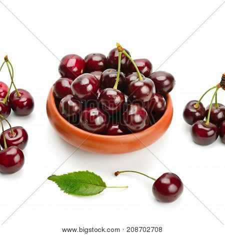 Ripe sweet appetizing cherry isolated on white background