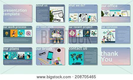 Business web presentation template. Vector design multipurpose presentation template info graphic elements for slides, business marketing, brochure, flyer, web design and banner, company presentation.