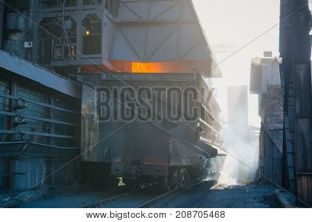 Coke Furnace. Production Of Coke. Steel Works. The Heated Coal. Nlmk. Altai Coke