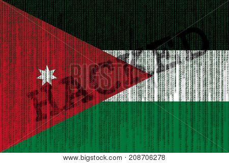 Data Hacked Jordan Flag. Jordan Flag With Binary Code.