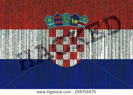 Data Hacked Croatia Flag. Croatian Flag With Binary Code.
