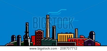 Factory banner. Industry, industrial technology concept Vector illustration