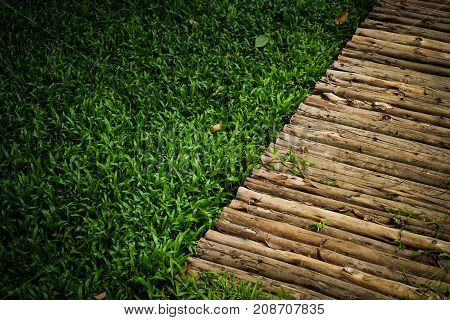 Wooden sidewalk and green lawn for background or texture - nature concept.