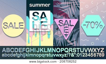 Sale summer Modern banner alphabet template for social media and mobile apps. Fashionable Memphis style Creative sale graphic. Summer background for sale poster. Easy editable for design.