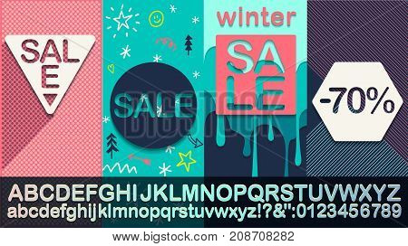 Winter Sale  Modern banner template for social media and mobile apps. Fashionable alphabet Creative sale graphic. Winter background for sale poster. Easy editable for design.