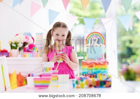 Kids Birthday Party. Little Girl With Cake.