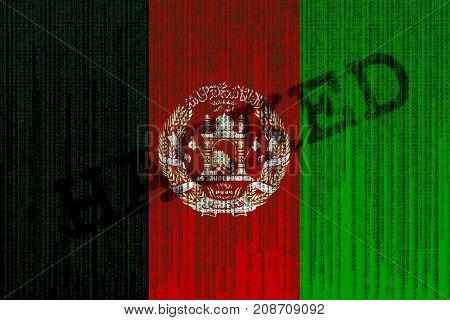 Data Hacked Afghanistan Flag. Afghanistan Flag With Binary Code.