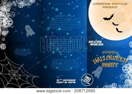 Vector Halloween invitation booklet to night party with three sections on the dark blue gradient background with full moon ghosts and flock of bats.