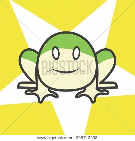 Cute frog cartoon with star on background.Lovely Toad character design vector illustration