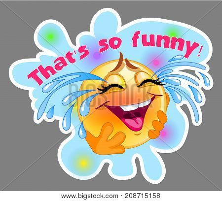 Laughing and crying emoticon sticker with blue background for messenger and applications