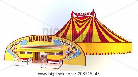 Circus Tent, colourful 3D Model, Yellow and red circus big top, chapiteau,
