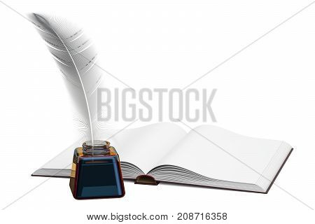 Blank book with feather and ink bottle 3D rendering isolated on white background