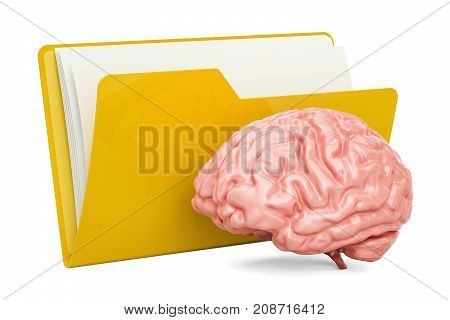 Folder computer icon with human brain 3D rendering isolated on white background
