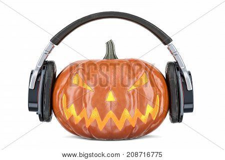 Halloween pumpkin with headphones 3D rendering on white