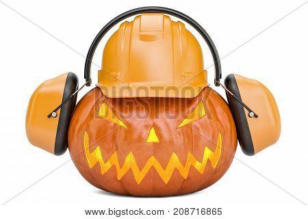 Halloween pumpkin with hardhat and ear defenders 3D rendering