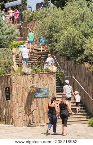 Yalta, Crimea - 11 July, People climb the stairs, 11 July, 2017. City monuments to military seamen.