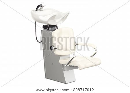 Modern salon chair hair washing shampoo unit 3D rendering isolated on white background