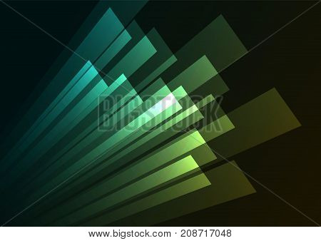green corner speed abstract background, square layer rush line, technology geometric background, vector illustration