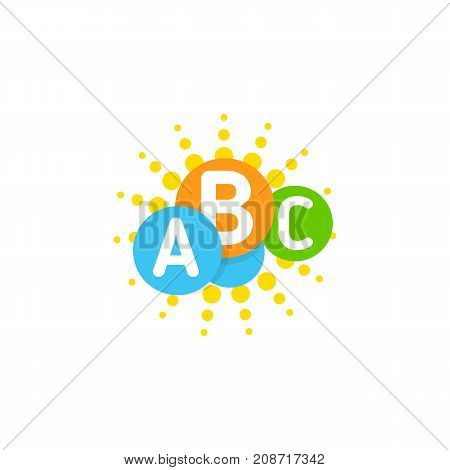 Vector logo template with idea colorful brain, sun and cloud. Circles and letters.