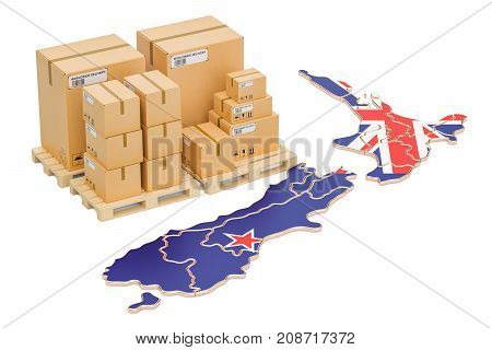 Shipping and Delivery from New Zealand isolated on white background