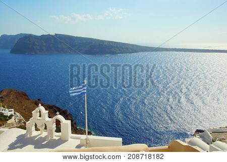 Blue clear sky over the island of Santorini Greece