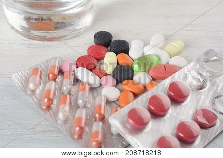 Pills And Tablets. Healthcare Concept.