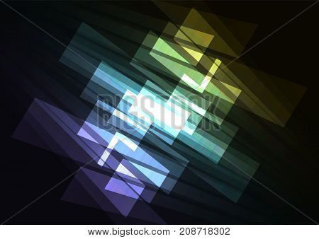 spectrum multicolor abstract spotlight background, corner square layer reverse line, technology geometric background, vector illustration