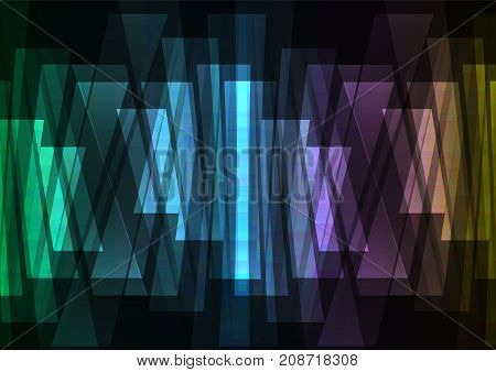 spectrum multicolor abstract spotlight background, square layer reverse line technology geometric background, vector illustration