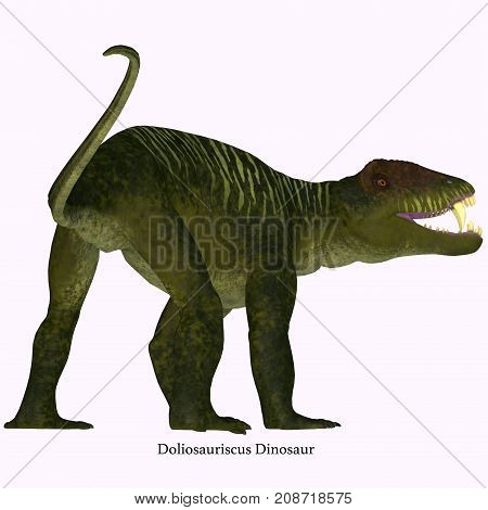 Doliosauriscus Dinosaur Tail with Font 3d illustration - Doliosauriscus is an extinct genus of therapsid carnivorous dinosaur that lived in Russia in the Permian Period.