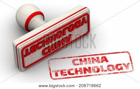 China technology. Red seal and imprint