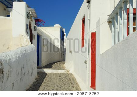 A small cozy courtyard in Fira on the island of Santorini