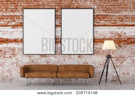 Modern Brick Living Room With Empty Banner