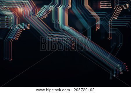 Abstract digital blurry motherboard backdrop. Technology and computer hardware concept. 3D Rendering