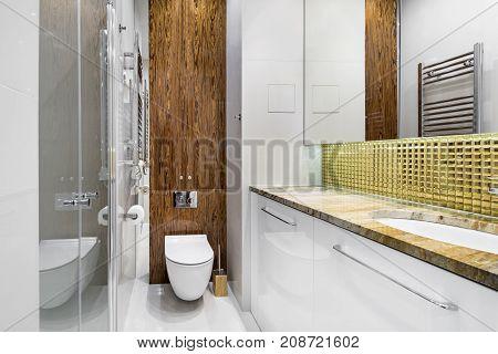 Modern bathroom interior design in wooden and white finish