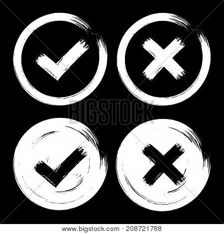 Set of white check mark icons on dark black background. Grunge paint brush hand drawn style. Isolated cut out ok yes no vintage signs.