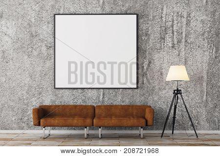 Modern Brick Living Room With Empty Billboard