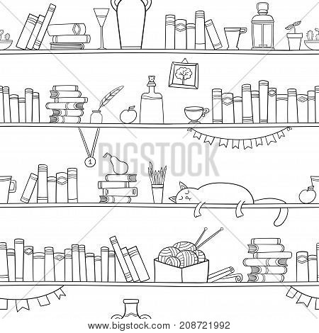 Books cat and other things on the shelves. Vector seamless pattern. Graphic objects for decorations background textures or interior wallpaper.