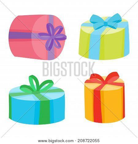 Christmas Or Birthday Presents Collection. Vector Illustration O
