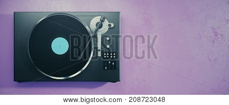 Turntable vinyl record player. Retro audio equipment for disc jockey. Sound technology for DJ to mix & play music. Purple background with copy space. 3D Rendering