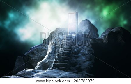Mountain steps leading to abstract open door with view on sky background. Imagination concept. 3D Rendering