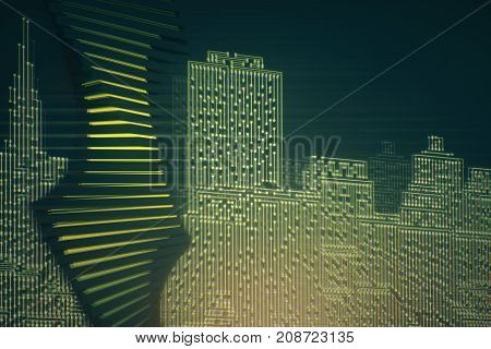Abstract circuit board city background. Technology connection innovation concept. 3D Rendering