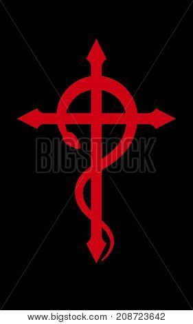CRUX SERPENTINES (The Serpent Cross). Mystical sign and Occult symbol of Black Magic.