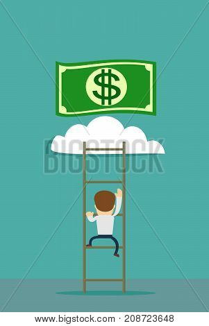 a man climbs the stairs to the money. ladder to a money cloud. Stock flat vector illustration.