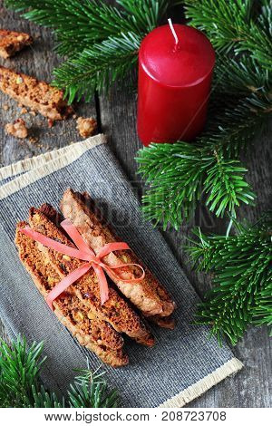 Chocolate Biscotti with pistachios and cranberries in a New Year's decor