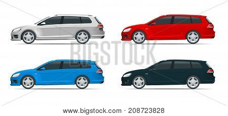 Vector hatchback car. Compact Hybrid Vehicle. Eco-friendly hi-tech auto. Easy color change. Template vector isolated on white View side.