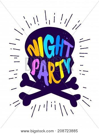 Silhouette of skull with color text Night Party. Vector sticker.
